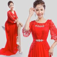 Shoulder lace long -sleeved red dress bride wedding toast clothing evening dress 2014 spring new Slim