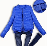 The new winter 2014 candy color lace stitching cotton-padded clothes female brief paragraph cotton-padded jacket free shipping