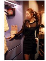 2014 summer new mesh dress sexy nightclub perspective Ladies long-sleeved dress stitching
