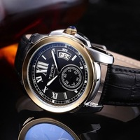 2 dials military leather  brand relogios masculino watch mechanical fashion luxury watches skeleton automatic self-wind clock