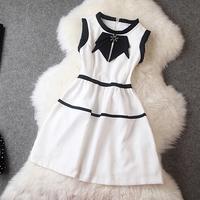 Wholesale Dresses Women 2014 Autumn New Diamonds Bow Tie Fashion Princess Dress Street Style Free Shipping