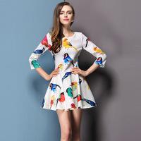 2014 summer women's new European and American fashion printing bird pattern sleeve waist big  dress