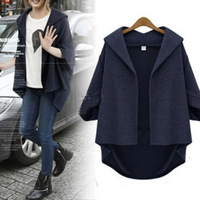 New Autumn  Europe and America Batwing Sleeves Women Coat Irregular Short Loose Jacket Navy Color