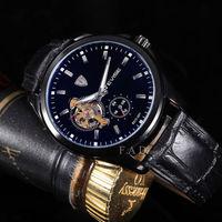 fashion military leather  brand relogios masculino tourbillon watch mechanical fashion  watch skeleton automatic self-wind clock