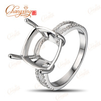 14k White Gold 11x11mm Cushion Cut Natural 0.21ct Natural Diamond Ring Mounting Jewelry