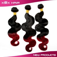 Queen hair products, brazilian body wave Ombre Hair Extensions, two-tone color, 6pcs/lot, 5A grade, free shipping