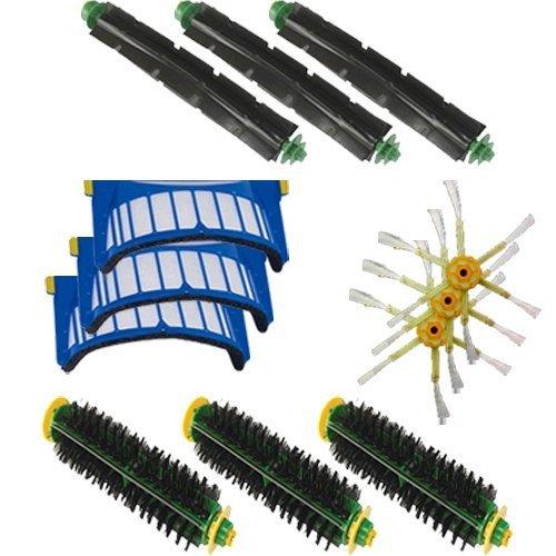 Aero Vac filtro Kit de limpeza escova de cerdas flexível batedor escova 3-Armed escova lateral acessório para iRobot Roomba 500 600 Series(China (Mainland))