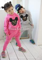 Children's clothes set ! spring&autumn Girls boys sports pants + Print cartoon mouse T-shirt  2 pcs suits  ELZ-T0332