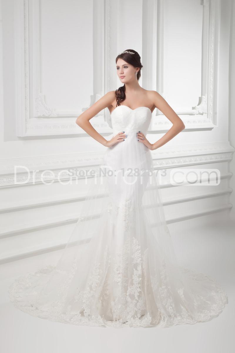 applique moderna elegante : Tribunal tren Tulle Appliques vestido de novia modernos de novia sin ...