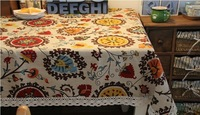 Free Shipping!Sun Flower Lace Table cloth 2014 new Design Cotton Linen Tea table Cloth Dining Table cover House decoration