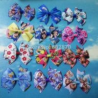 "Free Shipping 30pcs/lot 3"" pinwheel hair bows with clips Frozen hair bows 12 designs"