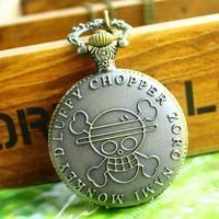 Hot sale bronze vintage big round face skull fashion quartz pocket watch necklace women