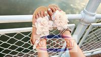 Free shipping Bohemia 2013 Sandals Female Beaded Flower FLat Flip-flop flats Women's Shoes KM1193