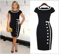 Free Shipping New Fashion Elegant Women Square Collar Office Career To Work Knee-Length Celebrity Bodycon Sheath Pencil Dress