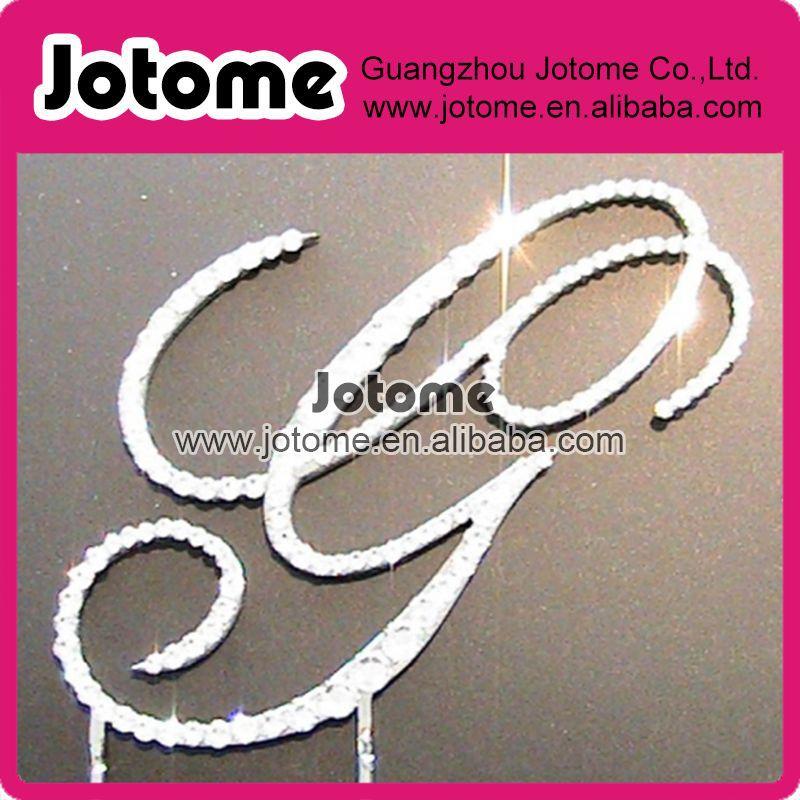 Western Wedding / Party Decoration G Letter Sparking120mm Big Silver Clear Crystal Rhinestone Fashion Cake Topper(China (Mainland))