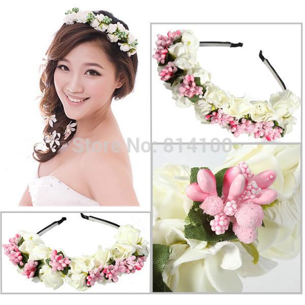 DIY flower headband Korean tourist photographing the bride wedding accessories hair bands headdress photo(China (Mainland))