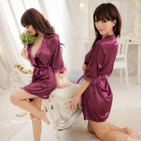 Women Fashion Sexy Lingerie Costume Pajamas Underwear Sleepwear Robe and G-String Free Shopping 1045