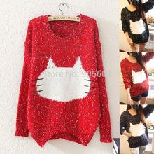 moda 2014 gato lindo rostro mujeres fáciles kintted suéter manga larga o- cuello dama busos otoño invierno advierten tapas de tamaño más hz138(China (Mainland))
