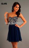 2014 Custom dress Exquisite handmade beaded evening dress Sweetheart Sheath Knee Length Bridesmaid Dresses LF2038