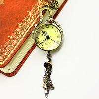 Free shipping wholesale hot sale dropship glass face with long chain necklaces pendants watch