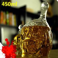 Free Shipping 1 Piece 450ml Zombie Head Decanter Bottle,Zombie Wine Glass Bottle,Skull Wine Bottle