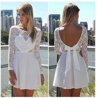 [GZ37]  Autumn New 2014 Women Long Sleeve Lace Dress High Quality Patchwork Hollow Out Casual White Dress S-XL   Fast Shipping