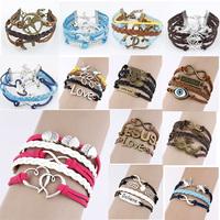 Cuff Bracelet Vintage Multilayer Leather Braided Charm Bangles Anchor/Heart/Love/Owl/Wing Bracelets & Bangles