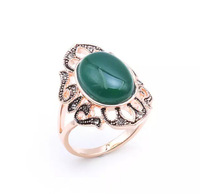 Brand women agate rings.18 KGP rose gold & hollow out side & green agate rings.Free shipping + gift.Buy 3, 15 % discount.