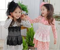 Wholesale new design girls autumn dresses . Fashion cute children cotton long sleeve dot lace princess dress .