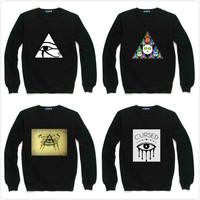 Harajuku Triangle Eye Print Sweatshirt For Women Men Flocking Casual Fleece Hoody Pullover Thick Moleton Feminino XXXL ZY053-28