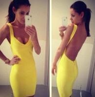 Plus Size XS-XXXL 2014 New Fashion Summer Women Sexy Night Club Wear Open Back Ladies Elastic Yellow Party Bandage Mini Dresses
