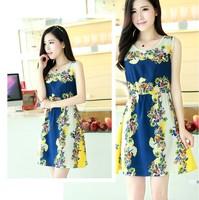 23 color women summer dress 2014 women's fashion vintage print slim waist sleevless casual tank dress spring autumn mini dress