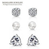 Neoglory Austria Rhinestone Simulated Pearl Zircon Platinum Plated Stud Earrings for Women Jewelry  2014 New Fashion Geometric