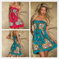 R7970 Free shipping 2014 new arrival full print summer dress 2014 women clothing off shoulder beach dress women dress
