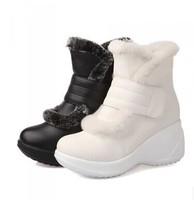 Hot Sale Autumn And Winter Rabbit Fur Velcro Platform Snow Boots High-Leg Boots Platform Shoes Women Waterproof Boots