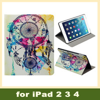 Capa Para Tablet Stand Cover Leather Case for iPad 2 3 4, Tablet PC Dream Catcher Back Holder Bling Cute Owl Case Cover for iPad