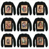 Tattoo Gril Princess Print Sweatshirt For Women Men Flocking Casual Fleece Hoody Pullover Thick Moleton Feminino XXXL ZY053-32