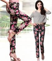 2014 plus size stretch cotton pencil pants skinny  flower print pants