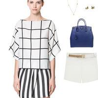 2014 New Arrival big plaid white chiffon woman blouse black stripe casual blusas femininas plus size fashion women shirt tops