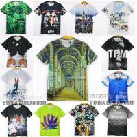Summer 2014 Fashion men's 3d T shirt Short sleeve T-shirt men funny print Refreshing leaves Asia M/L/XL/XXL