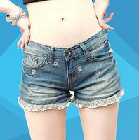 2014 shorts female summer lace denim shorts female skull o294du