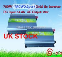 700W(350WX2PCS) Grid Tie Inverter for Solar Panel 14V-28V DC(350 watt, 220V, High Efficiency, Free Shipping)UK STOCK