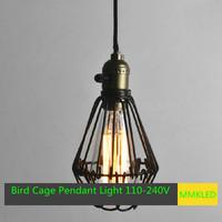 E27/E26 Vintae Bird Cage Decoration Pendant Lamp/Lights,Black twisted cable Unique American Style Edison Chandelier,  110V-240V
