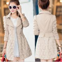 Plus Size 2014 Fashion Women Trench Coat Women's Double Breasted Slim Long Casual Outwear Coat Lace Patchwork Windbreaker AS1472