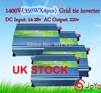 1400W(350WX4PCS) Grid Tie Inverter for Solar Panel 14V-28V DC(350 watt, 220V, High Efficiency, Free Shipping)UK STOCK