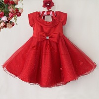 2014 Christmas Girl Dresses Red Top Grade Lace And Polyester Girls Princess Wear With Lovely Bow For Kids Clothing GD40814-35