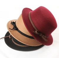 Retail Wool Fedora Felt Hat Vintage Bowknot Caps Winter New Fashion Caps 5 colors Free Shipping