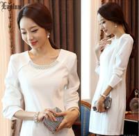 Lanluu 2014 New Fashion Dress! Korean Style Autumn and Winter Full Sleeve A-Line Slim Elegant OL Women Dress NM468