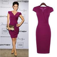 New Fashion Celeb Style Vintage V-neck Short Sleeve Knee-Length Slimming Sheath Bodycon Formal Cocktail Party Dress S,M,L,XL,XXL