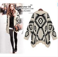 2014 Brand Women Geometric Pattern Knitted Sweater Knitwear Tops Ladies Retro Vintage Half Sleeve Cardigan Free Shipping SW8019